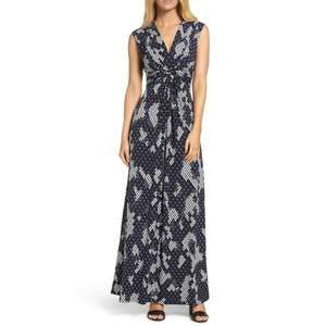 Eliza J | Size 2 Navy Ivory Jersey Maxi Dress